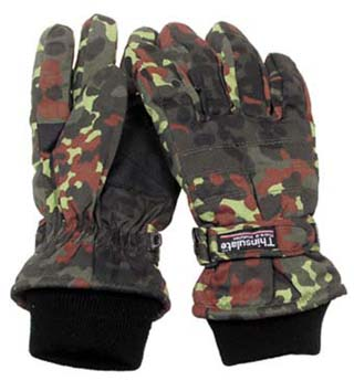 Перчатки зимние Fingerhandschuhe, Thinsulate, flecktarn,15473V