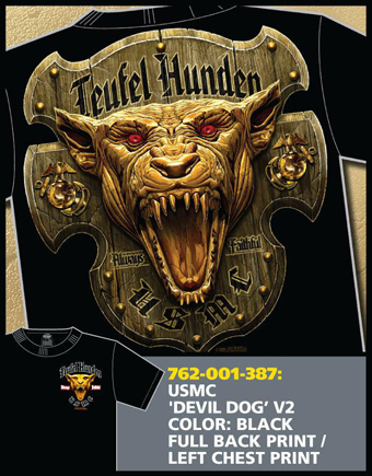 "Футболка 7.62 Design""USMC 'Devil Dog' (V.2) - Black', черная, 7-62-001-387"