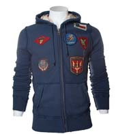 Балахон Vintage Aviation Fur Top Gun Zip-Up Military Patches,синий