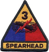 1518 U.S. Army SSI Full Color Patch - 3rd Armored Division (Spearhead) нашивка